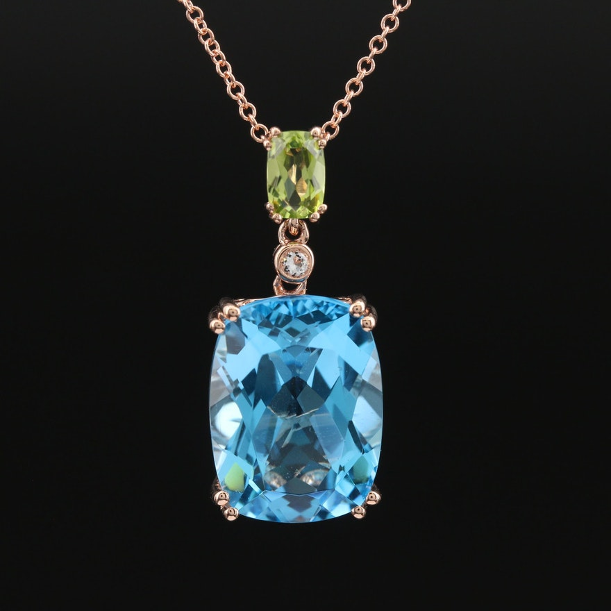 EFFY 14K Rose Gold Swiss Blue Topaz and Peridot Pendant Necklace