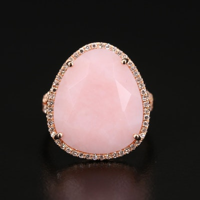 EFFY 14K Rose Gold Common Opal and Diamond Halo Ring
