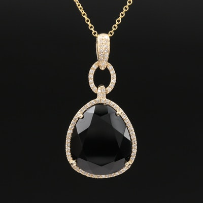 EFFY 14K Black Onyx and Diamond Pendant Necklace