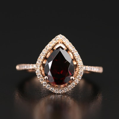 EFFY 14K Rhodolite Garnet and Diamond Halo Teardrop Ring
