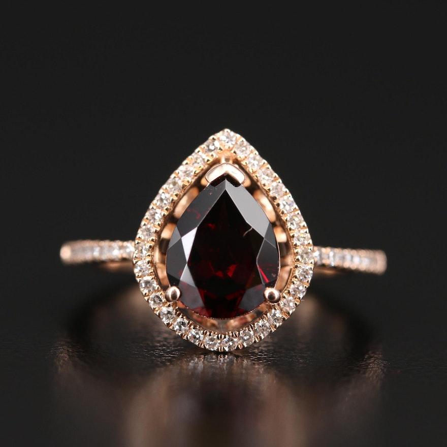 EFFY 14K Rhodolite Garnet and Diamond Halo Teardrop Ring