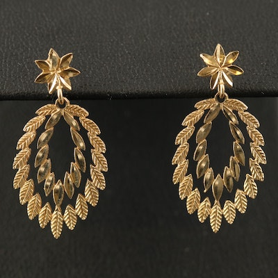 14K Etched Leaf Earrings