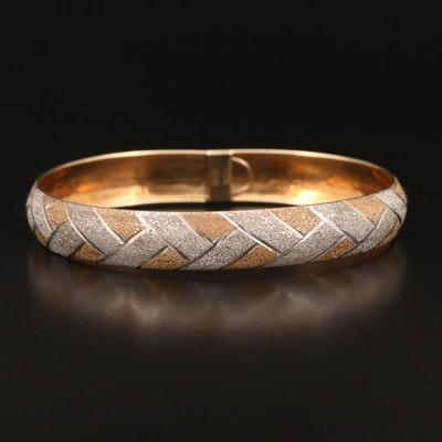 10K Two-Tone Braid Motif Bracelet with Stippled Finish