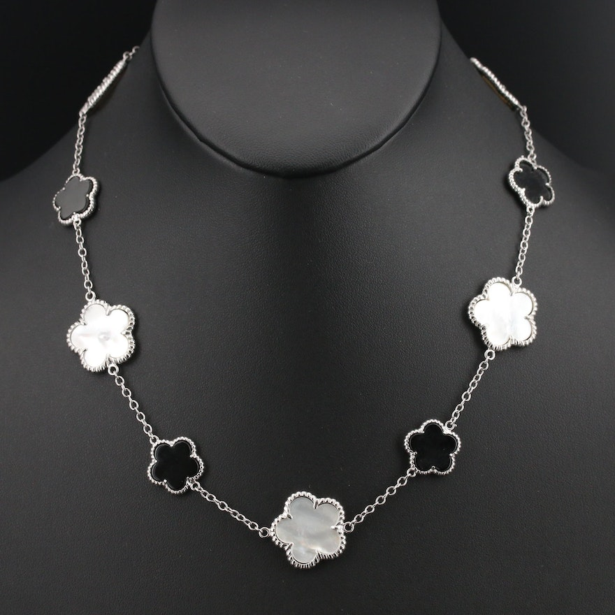Floral Mother of Pearl and Black Onyx Station Necklace