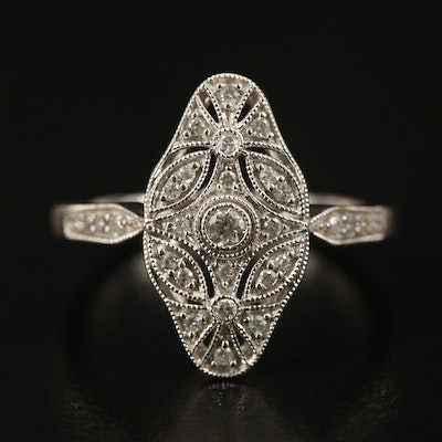 10K Diamond Milgrain Detail Ring