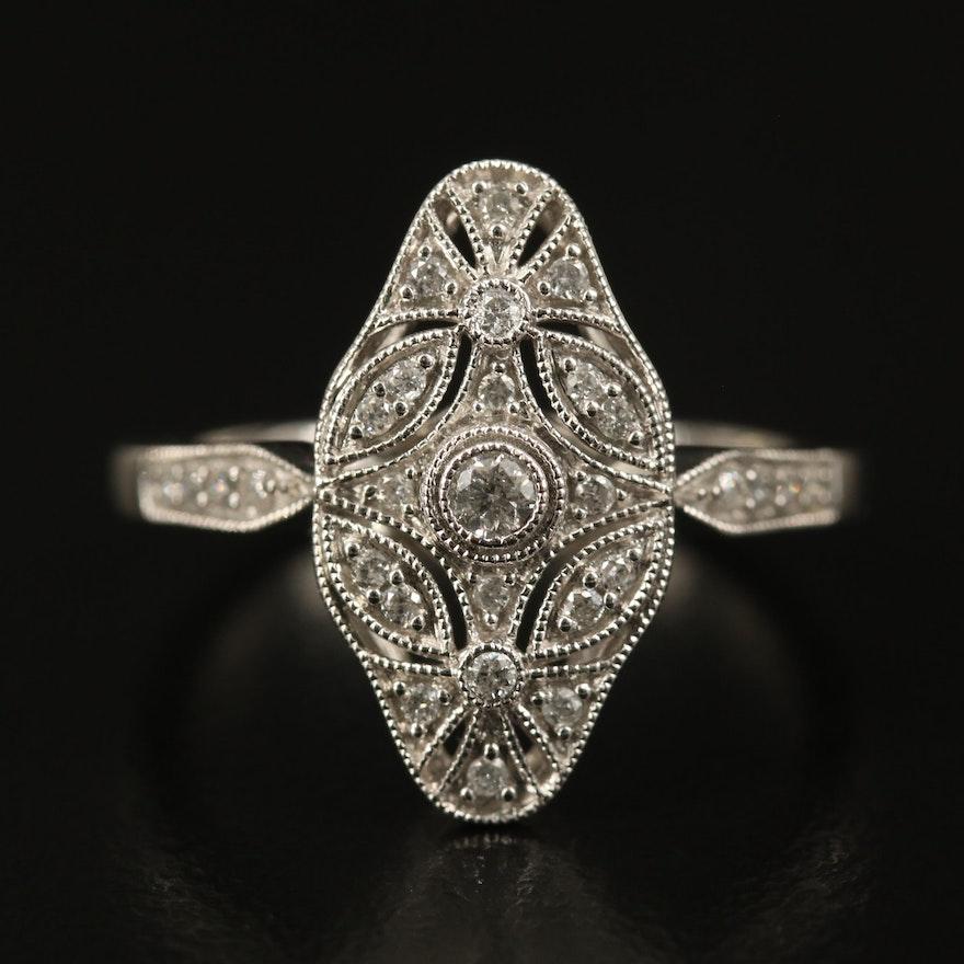 10K Diamond Milgrain Detail Ring