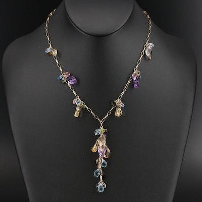 14K Gemstone Fringe Necklace