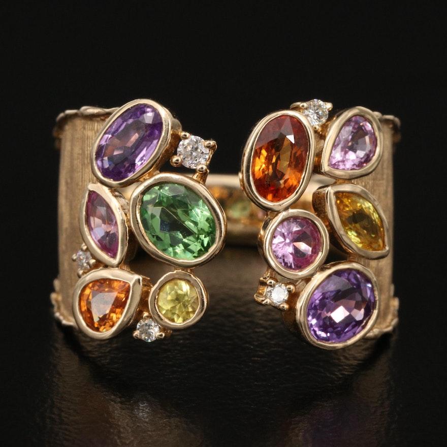 EFFY 14K Sapphire, Tsavorite and Diamond Open Shank Cluster Ring