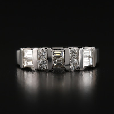 14K 0.84 CTW Round Brilliant and Baguette Cut Diamond Band