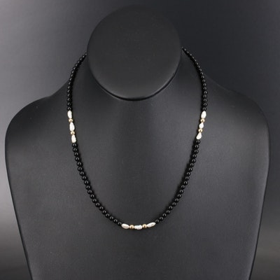 Black Onyx and Pearl Necklace with 14K Clasp