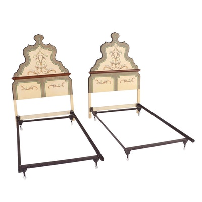 """Tevi"" By Drexel Painted Twin Size Headboards with Classic Frames, Late 20th C."