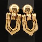 Italian 14K Hinged Earrings