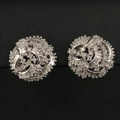 EFFY 14K 1.47 CTW Round Brilliant and Baguette Cut Diamond Earrings