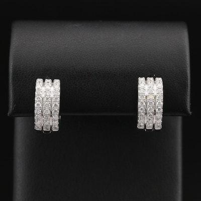 EFFY 14K 1.15 CTW Diamond Multi-Row Huggie Earrings