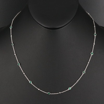 EFFY 14K Emerald and Diamond Station Necklace