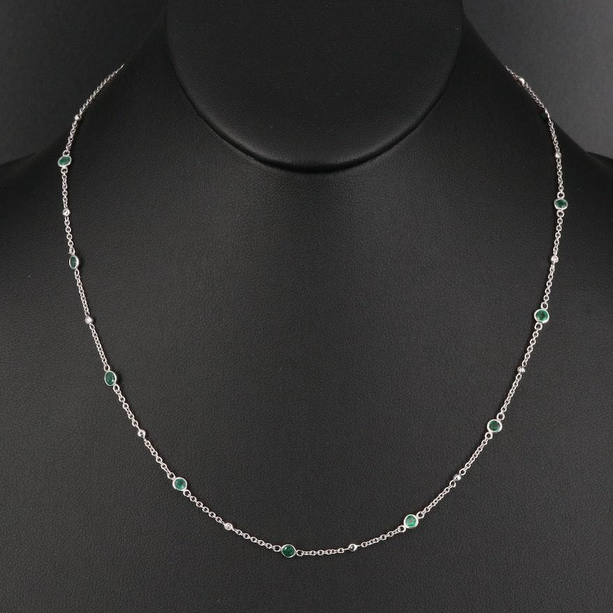 EFFY 14K Emerald and Diamond Station Necklace