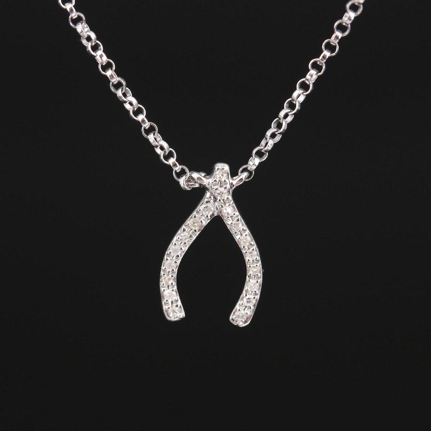 EFFY 14K Diamond Wishbone Necklace