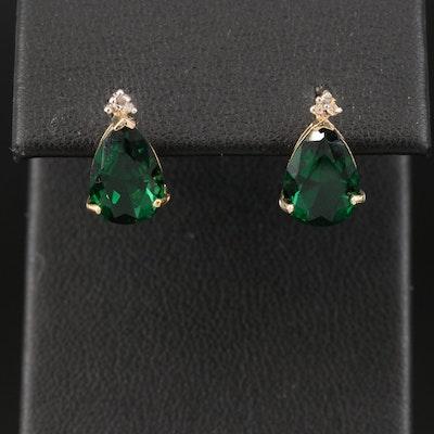 10K Emerald and Diamond Teardrop Stud Earrings