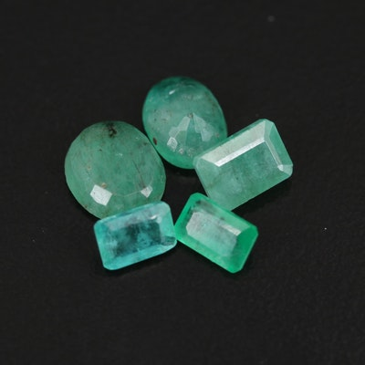 Loose 5.16 CTW Oval and Cut Cornered Rectangular Faceted Emeralds