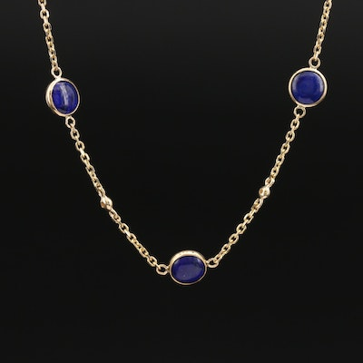 EFFY 14K Lapis Lazuli and Diamond Bezel Set Necklace