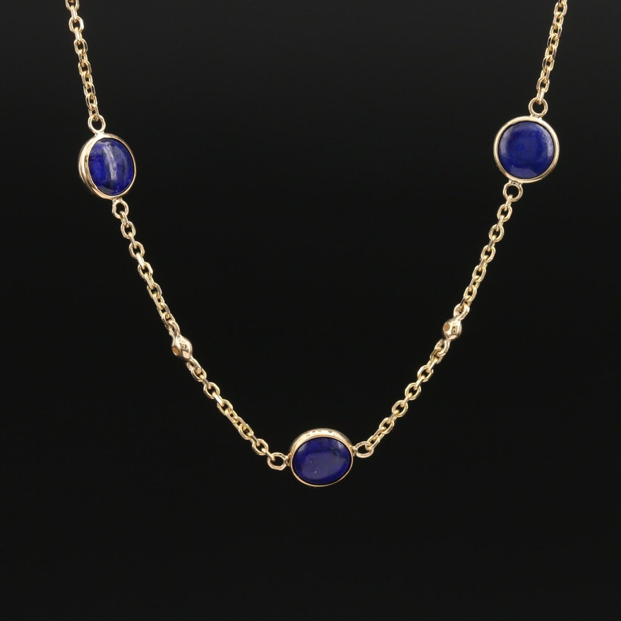 EFFY 14K Lapis Lazuli and Diamond Bezel Set Necklace