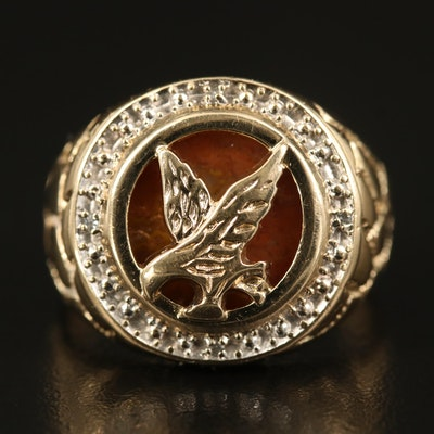 10K Agate and Diamond Eagle Ring