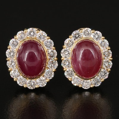 18K Ruby and 1.68 CTW Diamond Clip Earrings
