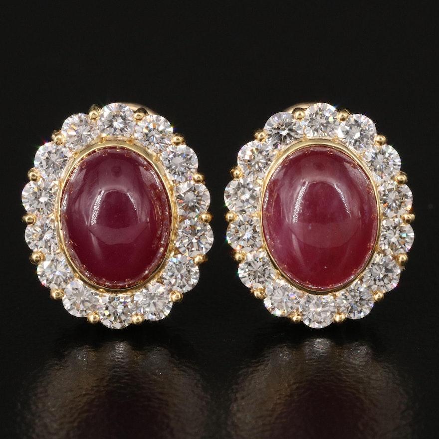 18K Ruby and 1.68 CTW Diamond Clip Earrings
