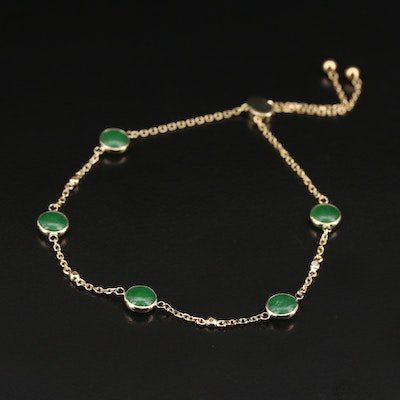 EFFY 14K Bezel Set Jadeite and Diamond Adjustable Bracelet