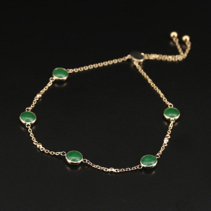 EFFY 14K Bezel Set Jadeite and Diamond Adjustable Bracelet