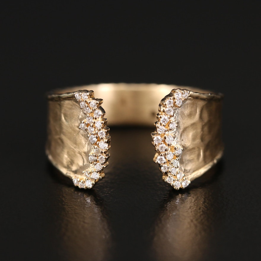 EFFY 14K Diamond Open Top Ring with Brushed Hammered Finish