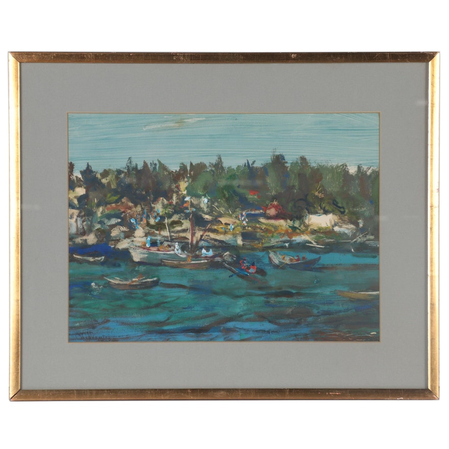Paul Chidlaw Landscape Watercolor Painting, 1966
