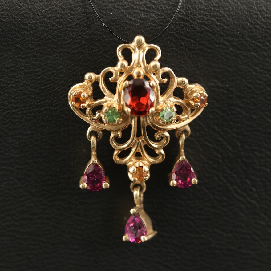 10K Pendant with Garnet Varieties and Articulated Drops