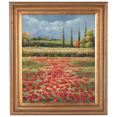 Impasto Oil Painting of Poppy Field, 21st Century