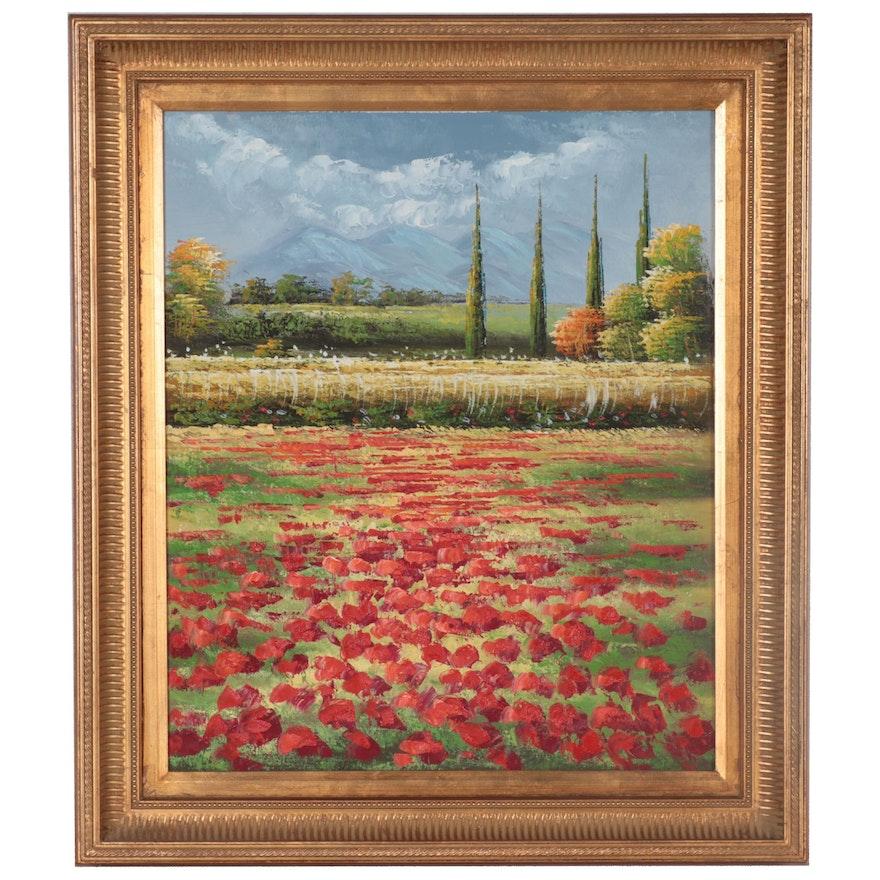 Impasto Oil Painting of Poppy Field, 21st Century