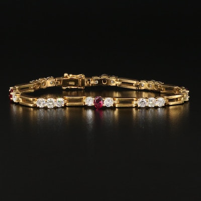 18K 4.08 CTW Diamond and Ruby Link Bracelet
