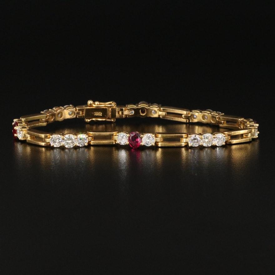 18K 4.08 CTW Diamond and Ruby Link Bracelet
