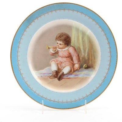 Josef Ahen Hand-Painted Porcelain Cabinet Plate with Vienna Exhibition Mark