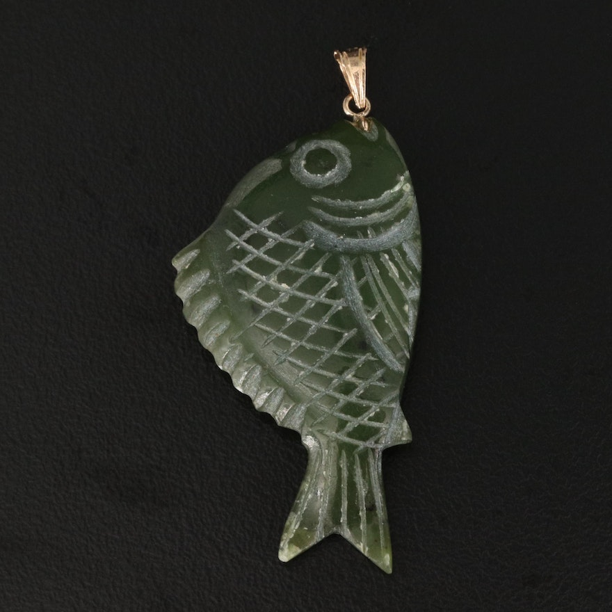 Carved Nephrite Fish Pendant with 14K Bail