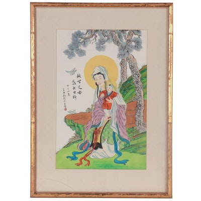 Chinese Gouache Painting of Madonna and Child