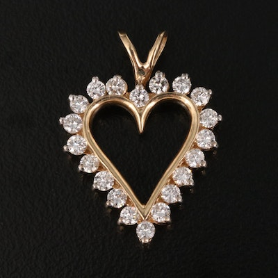 14K Diamond Heart Pendant