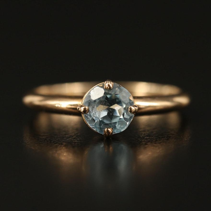 14K Sky Blue Topaz Ring