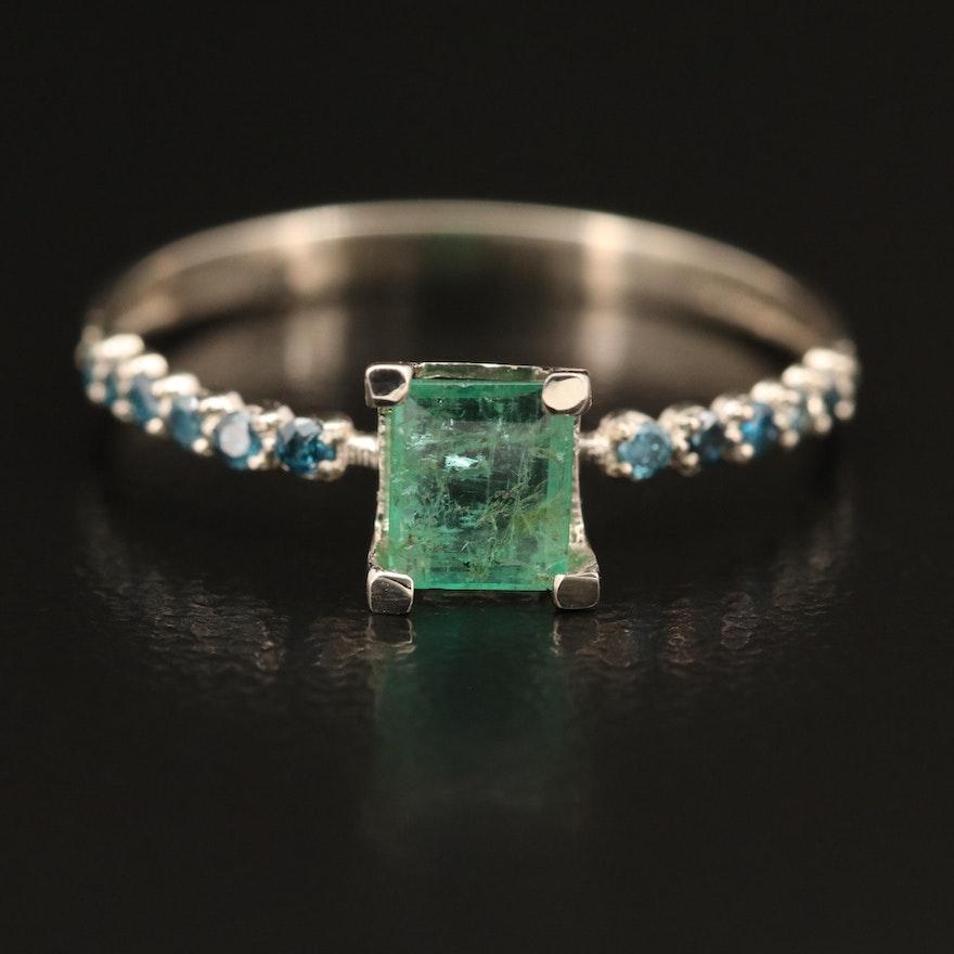 14K Emerald and Blue Diamond Ring