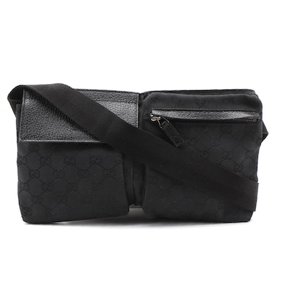 Gucci GG Black Canvas Belt Bag with Leather Trim