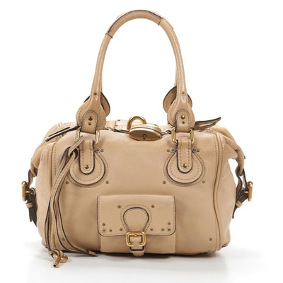 Chloé Paddington Bag in Beige Grained Leather