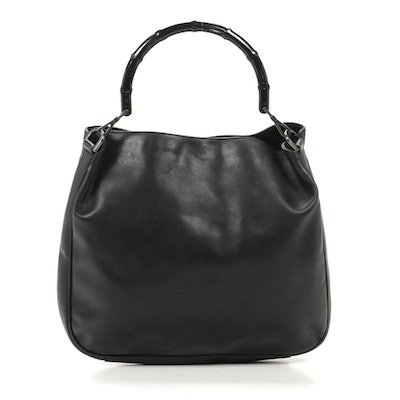 Gucci Bamboo Hobo Bag in Black Leather
