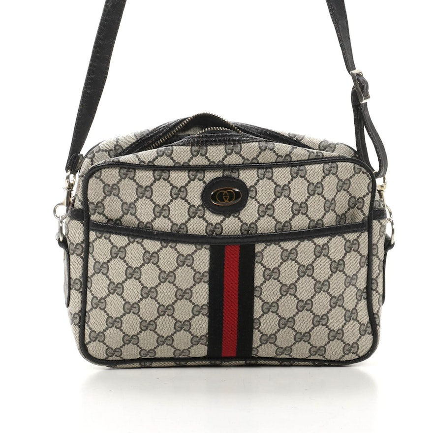 Gucci Crossbody Bag in GG Supreme Canvas and Navy Leather