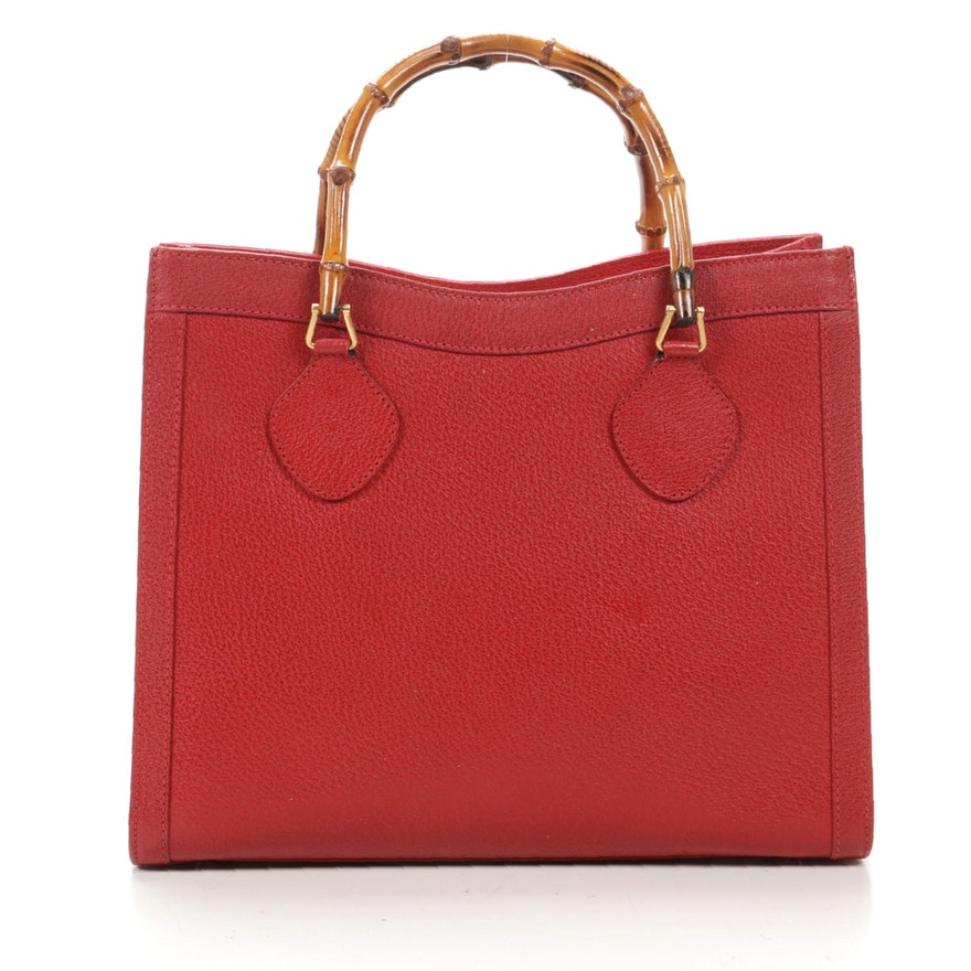 Gucci Bamboo Tote in Red Grained Leather