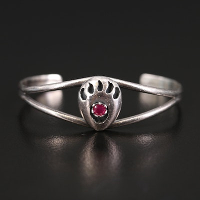 Infant Size Sterling Ruby Shadowbox Paw Cuff