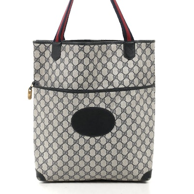 Gucci Web Strap Tote in GG Supreme Canvas and Navy Leather